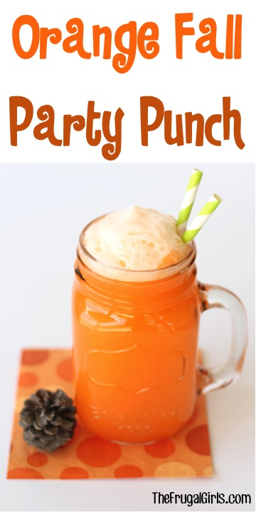 Orange Fall Party Punch Recipe - from TheFrugalGirls.com