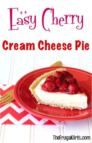 No Bake Cherry Cream Cheese Pie Recipe at TheFrugalGirls.com