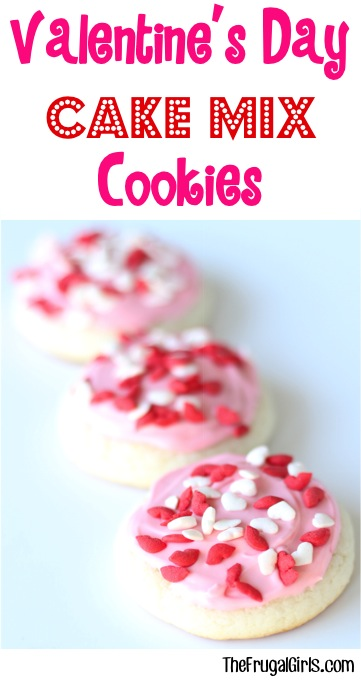 Valentine's Day Cake Mix Cookies Recipe from TheFrugalGirls.com