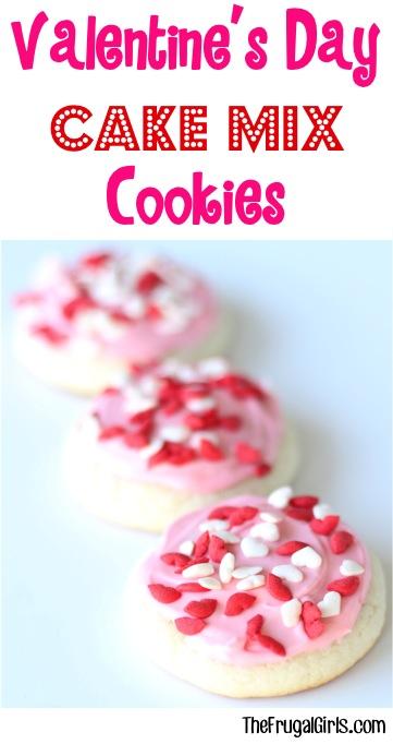 Valentine's Day Cake Mix Cookies Recipe from TheFrugalGirls.com