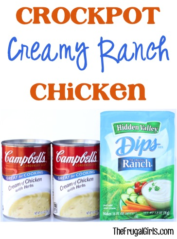 Crockpot Creamy Ranch Chicken Recipe at TheFrugalGirls.com