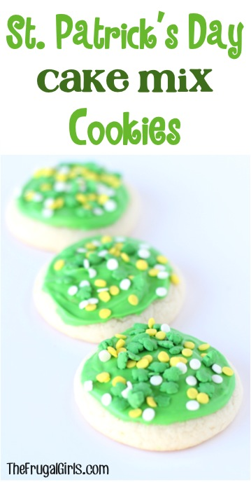 St Patricks Day Cake Mix Cookies Recipe from TheFrugalGirls.com