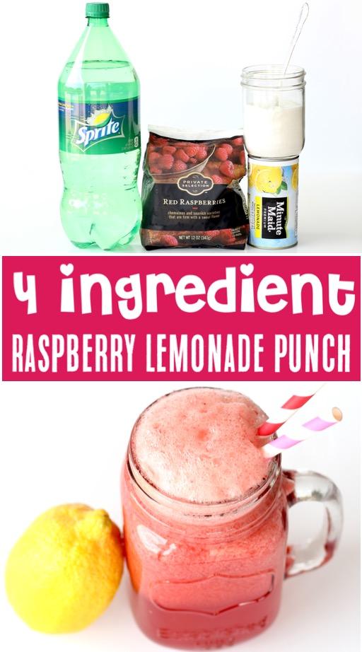 Lemonade Recipe for a Crowd - Easy Raspberry Lemonade Party Punch Drink