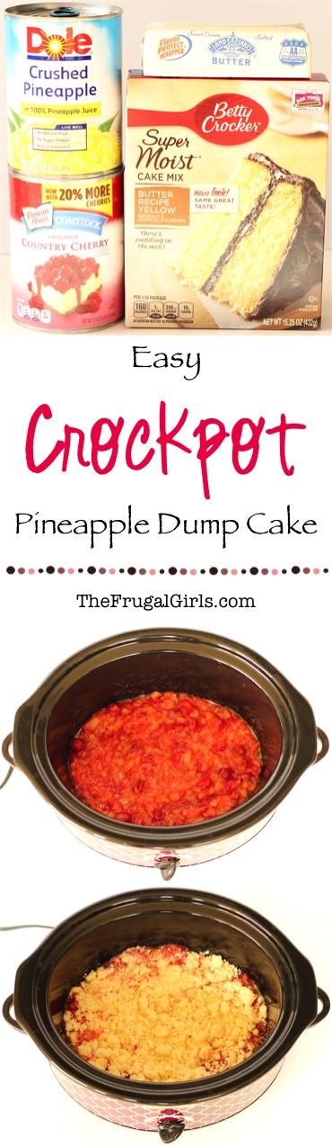 Easy Crockpot Pineapple Dump Cake Recipe from TheFrugalGirls.com