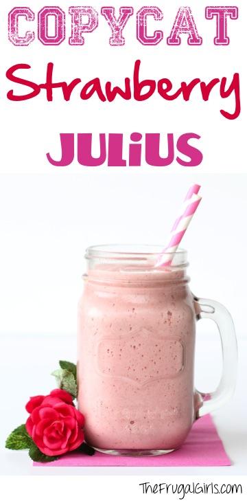 Copycat Strawberry Julius Recipe at TheFrugalGirls.com