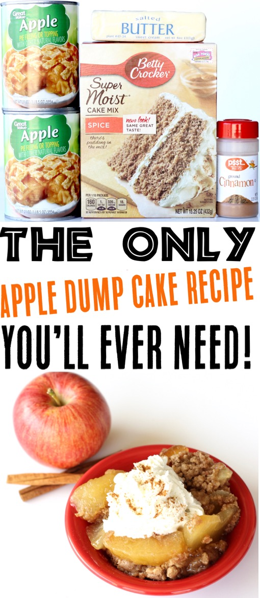 Crockpot Dump Cake Recipes - Easy Apple Spice Slow Cooker Dessert Recipe
