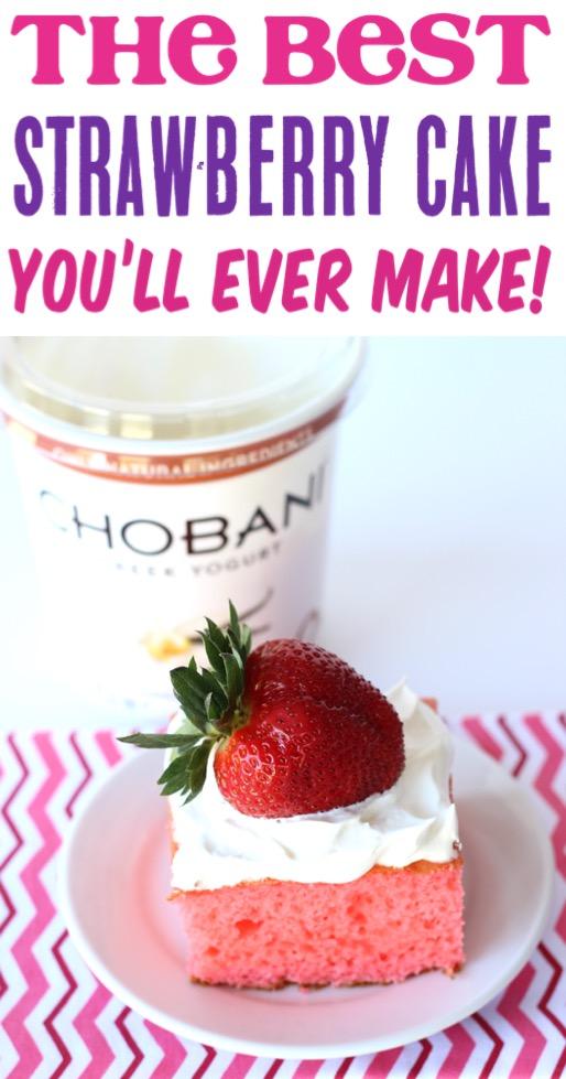 Strawberry Cake Easy Recipe with Creamy Greek Yogurt in the Filling