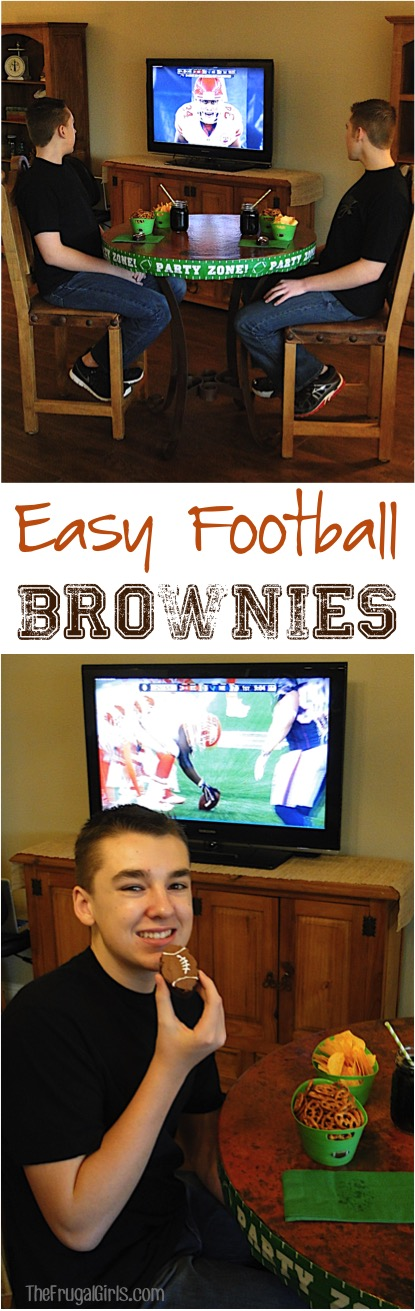 Football Brownies Recipe at TheFrugalGirls.com