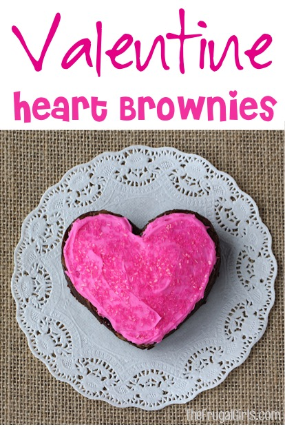 Valentine Heart Brownie Recipe at TheFrugalGirls.com