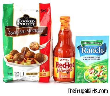 Crockpot Buffalo Ranch Meatballs Recipe at TheFrugalGirls.com