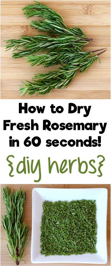 How to Dry Fresh Rosemary in 60 Seconds - DIY Herb Tips from TheFrugalGirls.com
