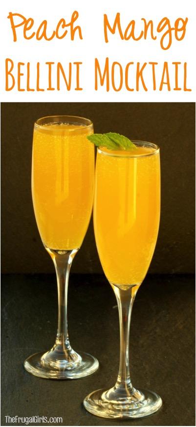 Peach Mango Bellini Mocktail Recipe - at TheFrugalGirls.com