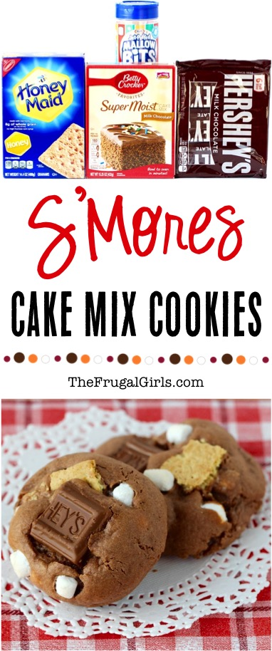 Smores Cake Mix Cookie Recipe - from TheFrugalGirls.com