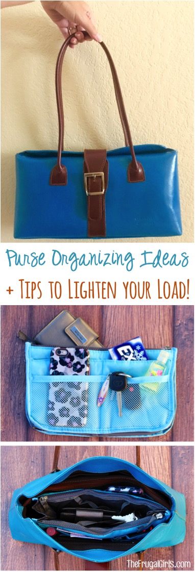 Purse Organizing Ideas and Tips to Lighten your Load | at TheFrugalGirls.com