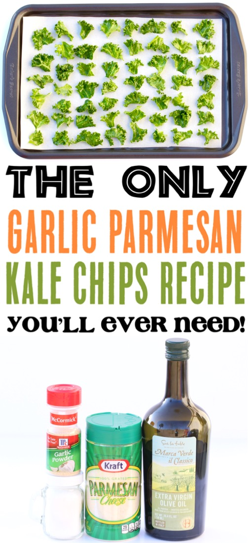 Kale Chips Recipe Baked Healthy Easy Garlic Parmesan with Garlic Powder