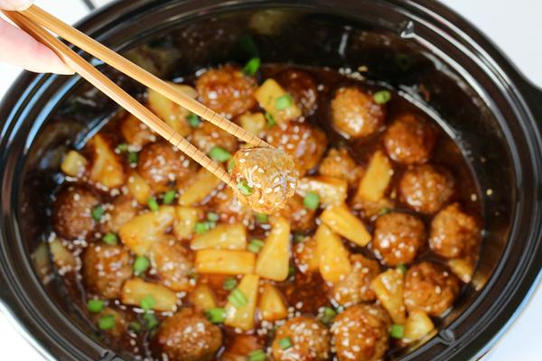 Easy Crock Pot Teriyaki Meatball Recipe from TheFrugalGirls.com