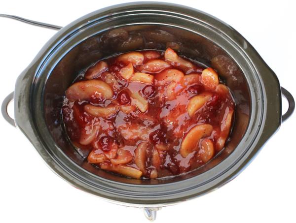 Crockpot Cranberry Apple Dump Cake Recipe from TheFrugalGirls.com
