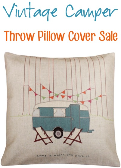 Vintage Camper Throw Pillow Cover Sale at TheFrugalGirls.com