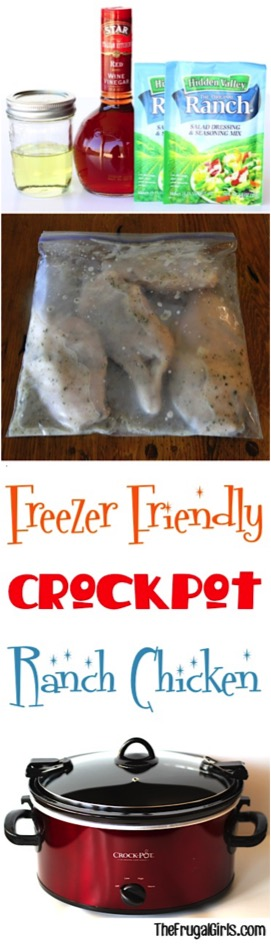 Freezer-Friendly Crockpot Ranch Chicken Recipe from TheFrugalGirls.com