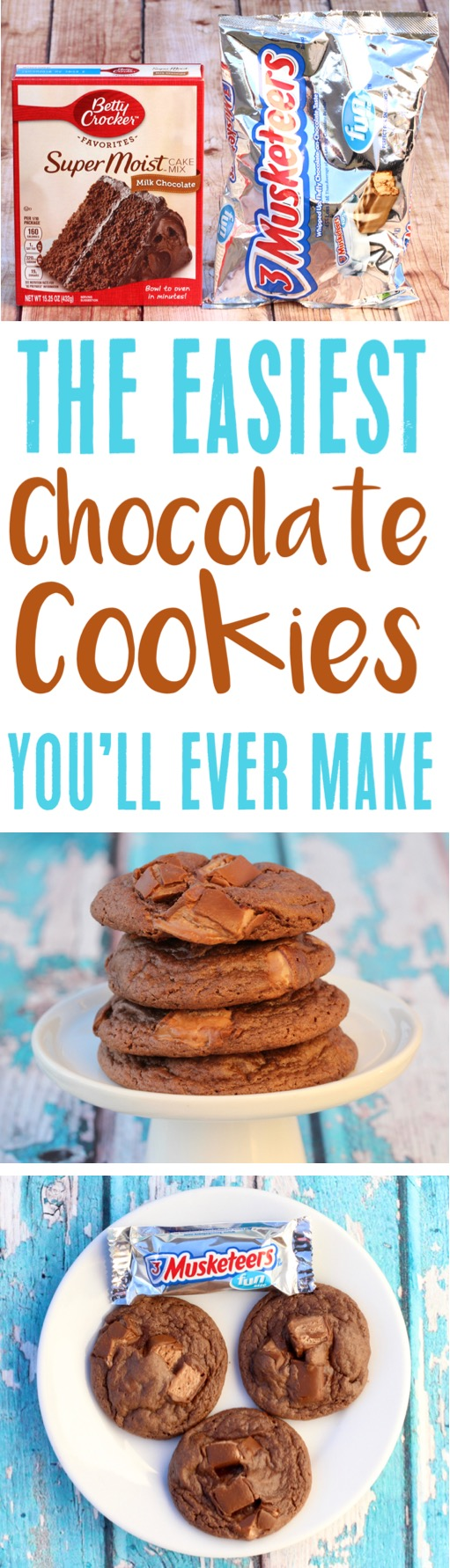 Chocolate Cake Mix Cookies - Easy 3 Musketeers Cookie Recipe