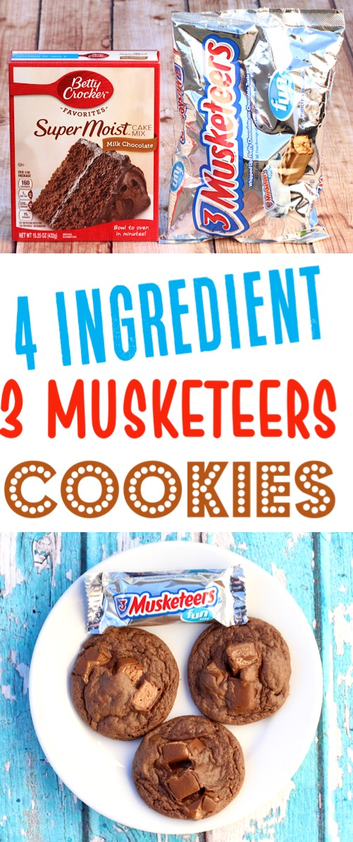 Chocolate Cake Mix Cookies Recipes Easy 3 Musketeers Soft Chewy Cookie Recipe