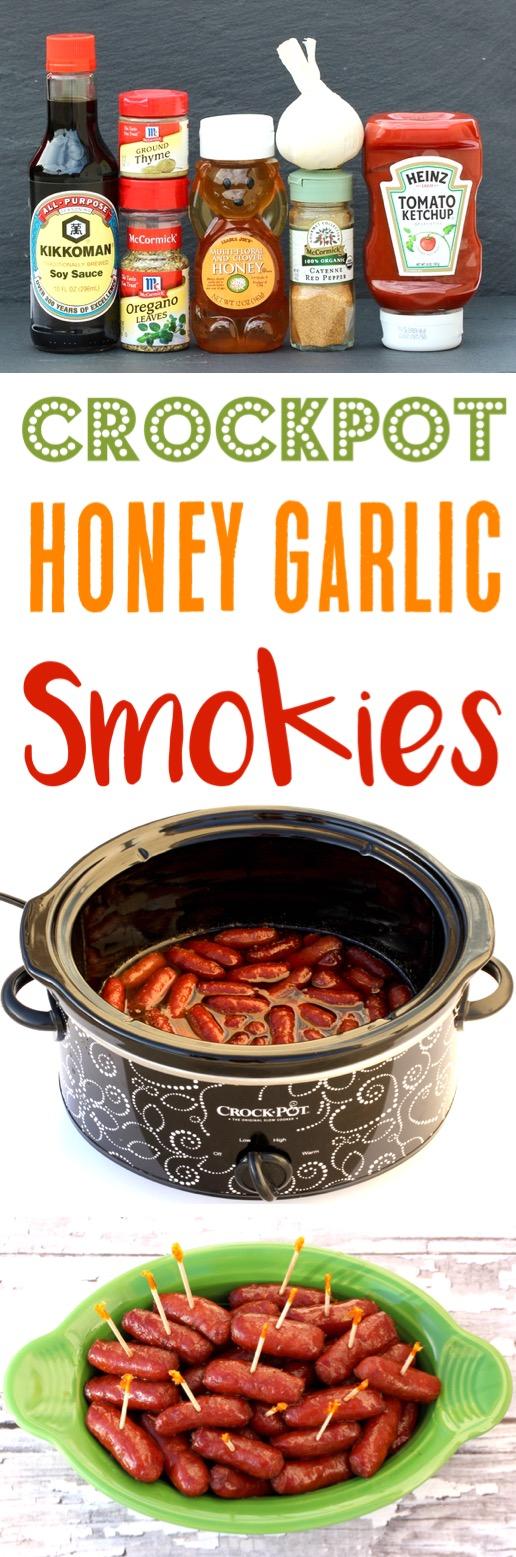 Crockpot Smokies Recipe Honey Garlic Slow Cooker Appetizer