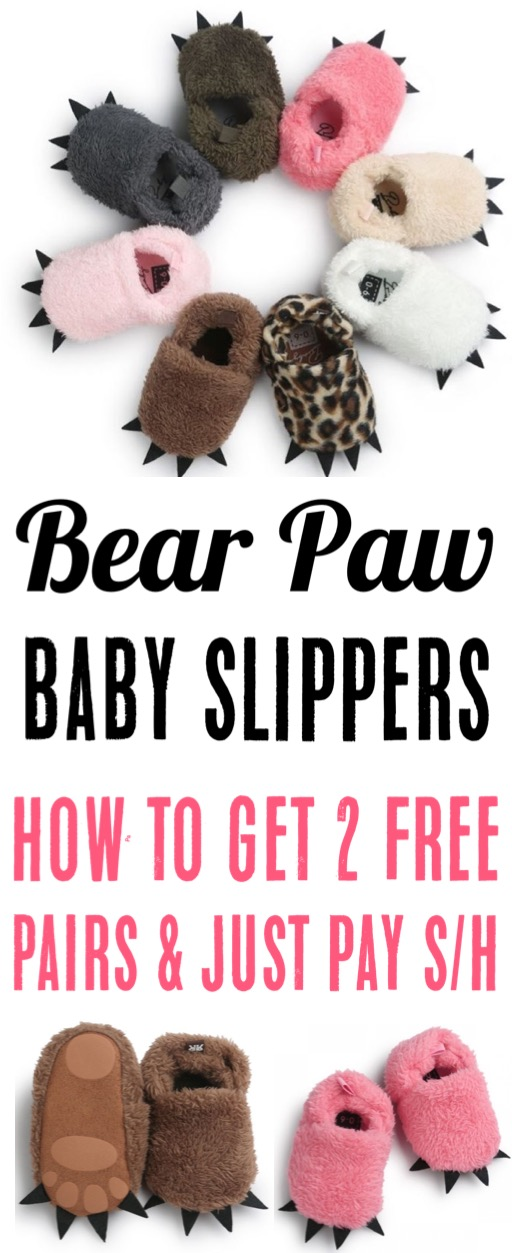 Baby Girl Clothes Newborn and older Free Cozy Bear Paw Slippers for Babies