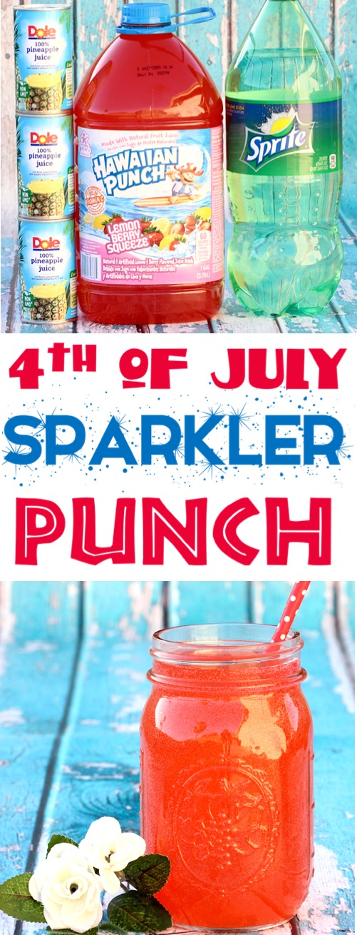 4th of July Party Ideas - 3 Ingredient Patriotic Sparkler Punch Recipe for Kids and Adults