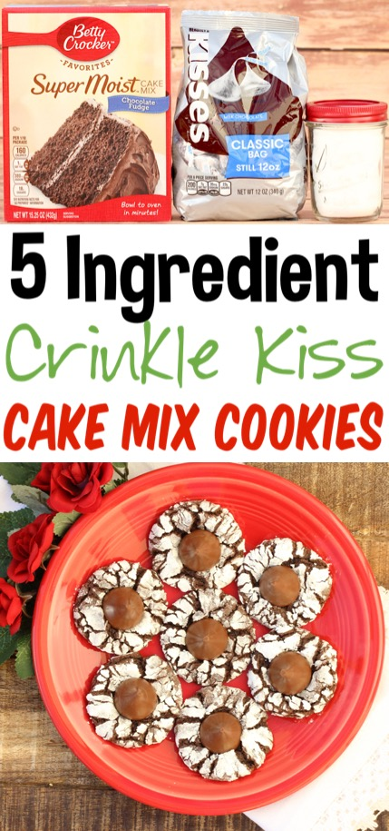 Crinkle Cookies Recipe Easy Chocolate Kiss Crinkle Cookie made with your favorite Cake Mixes