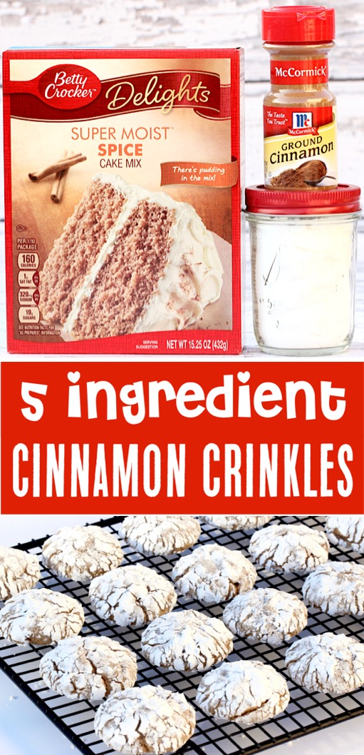 Fall Cookies Recipes Easy Autumn or Thanksgiving Cinnamon Cake Mix Crinkle Cookie Recipe