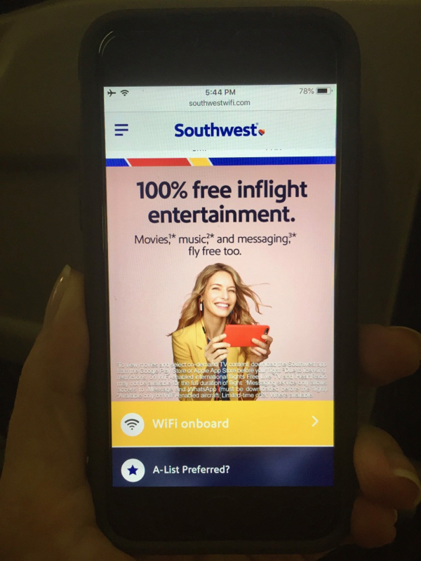 Southwest Airlines Free In Flight Entertainment