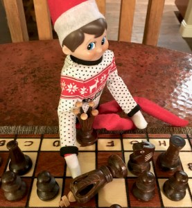 Elf on the Shelf Playing Chess