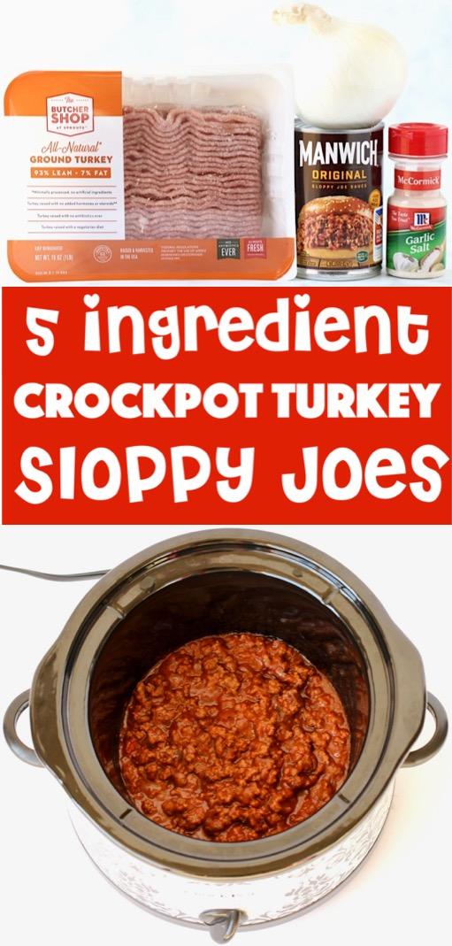 Crockpot Sloppy Joes Recipe - Easy Turkey Sloppy Joe made in the Slow Cooker