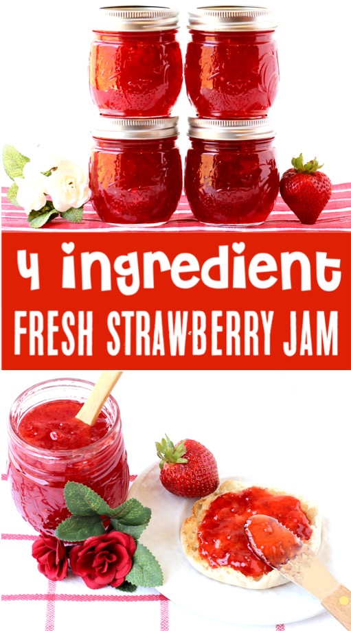 Strawberry Jam Recipe for Canning - Easy 4 Ingredient Homemade Jam
