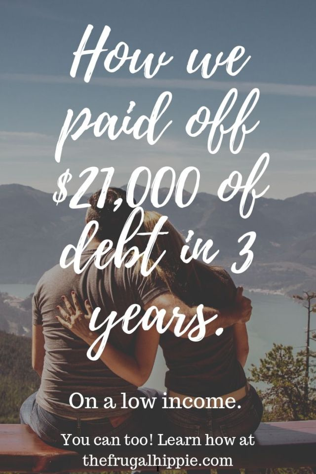 How we paid of $21,000 of debt in 3 years with man and woman looking at a mountain