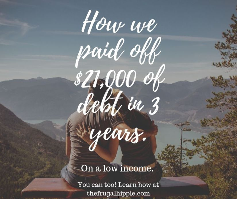 How we paid of $21,000 of debt in 3 years with man and woman looking at mountain