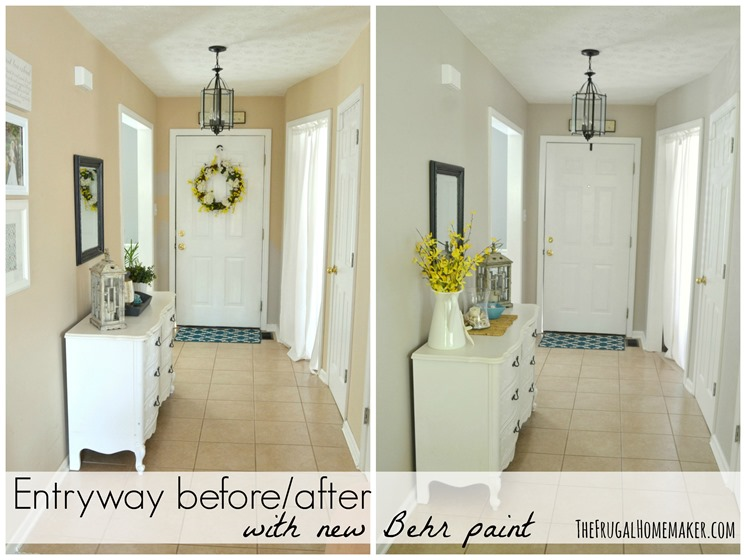 Entryway Before And After (beige To GREIGE With Behr Paint