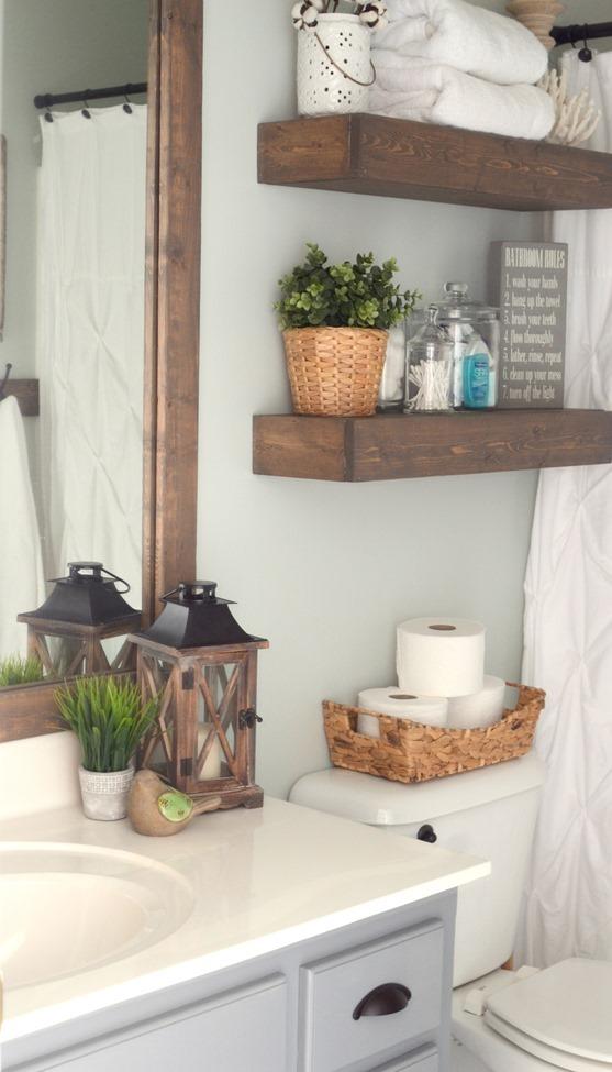 Modern Farmhouse Inspired Bathroom Makeover (One Room, One ... on Modern Farmhouse Shower  id=60195