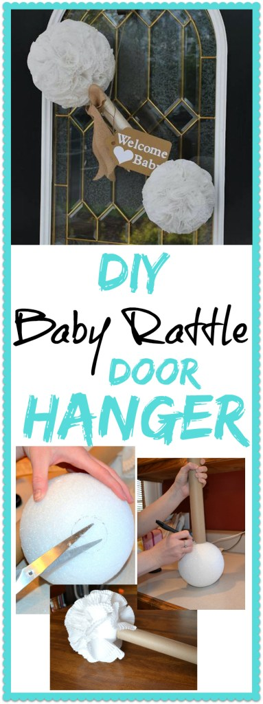 This DIY Baby Shower Rattle Door Hanger is just too cute! Working with almost any baby shower theme, this decoration is very easy to make!