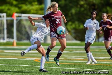 Ottawa, ON - Ontario University Athletics Women's Soccer game between the Ottawa Gee-Gees and the Carleton Ravens held on Sep 17, 2017 at MNP Park at Carleton University.  Photo: Marc Lafleur / Carleton Ravens