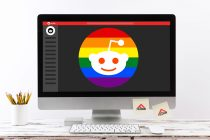 The Reddit logo with a LGBTQ2+ twist representing LGBTQ2+ subreddits