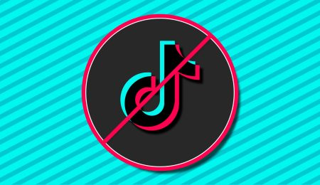 The TikTok logo with a ban circle around it