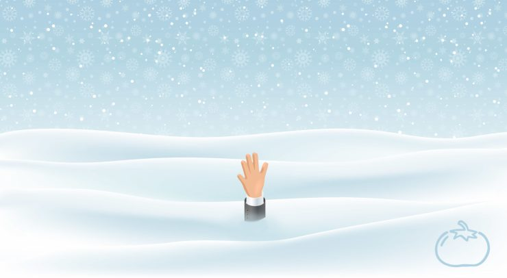 A person drowning in snow