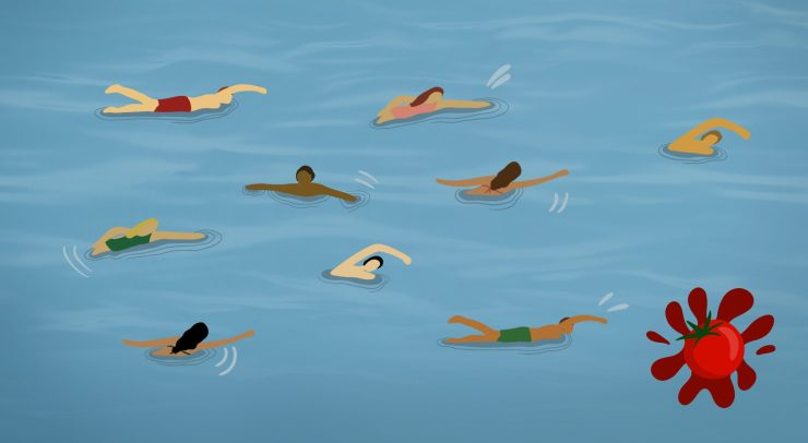 Animated characters swimming