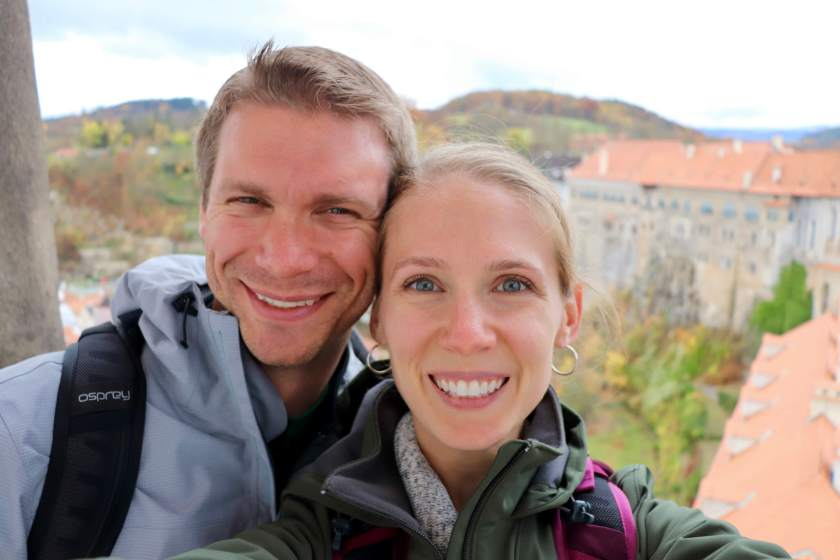 Gwen and M in Cesky Krumlov, Czech Republic