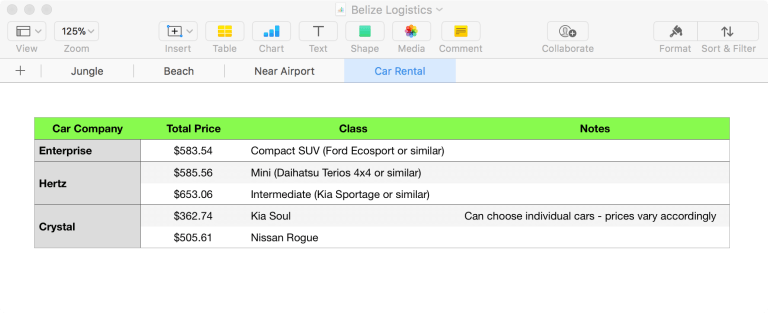 Spreadsheet screenshot comparing rental cars