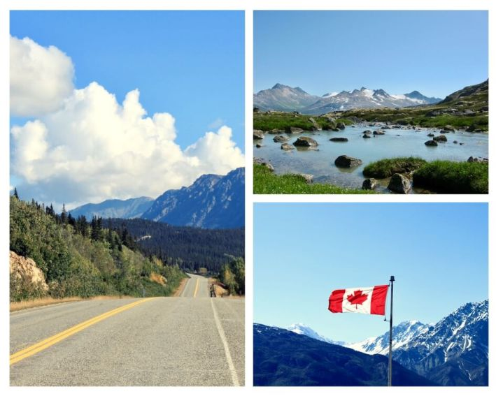 Collage of Yukon photos, including mountain road, icy lake, and Canadian flag in front of mountains