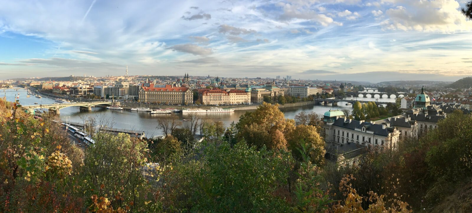 Panoramic view of Prague with river