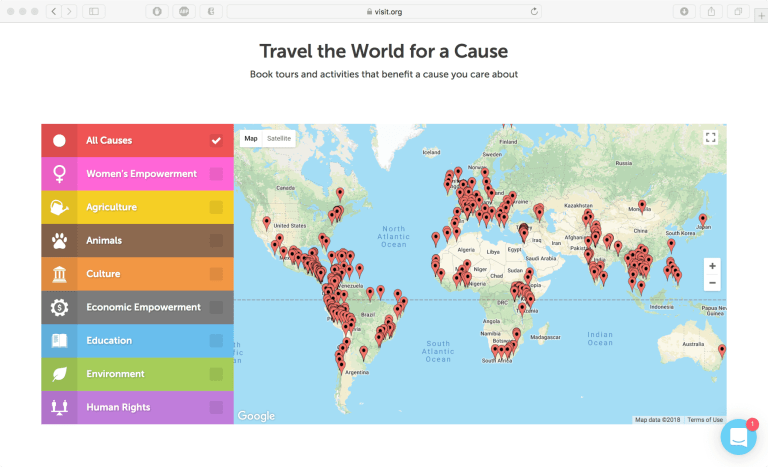 Screenshot of map of Visit.org experience locations