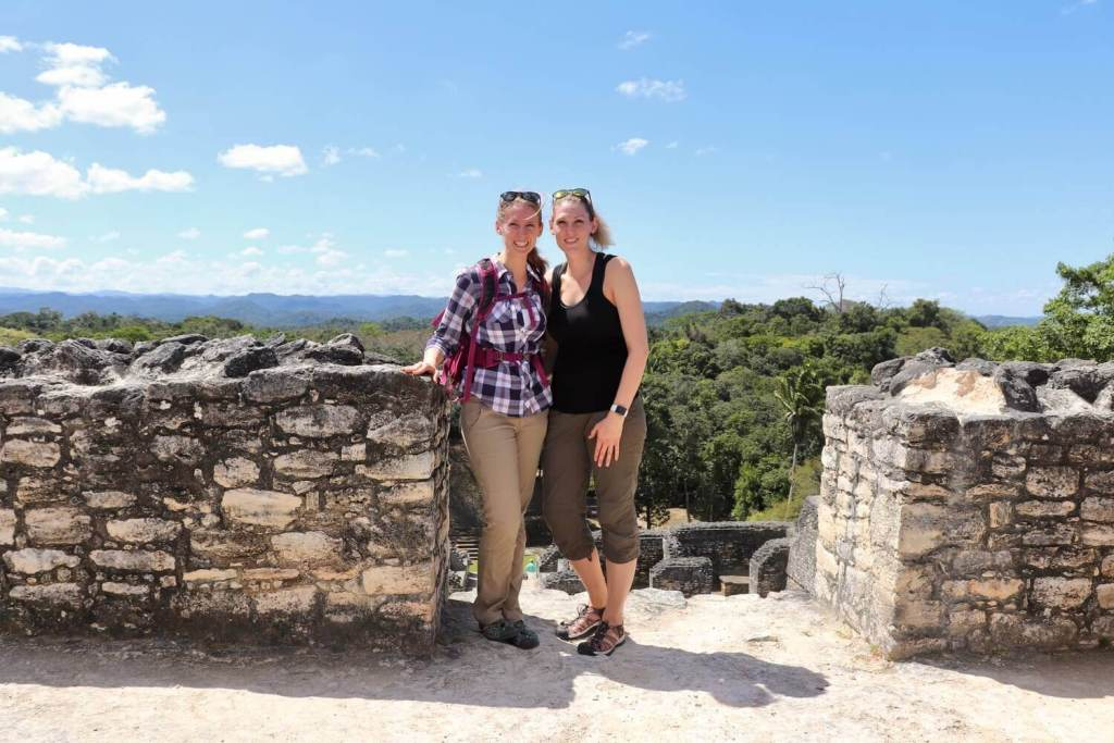 Gwen and Brooke at Caracol. Comfortable, breathable clothes are essential for any packing list for Belize.